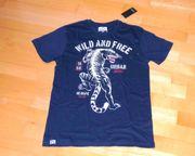 NEU dunkelblaues T-Shirt mit Raubkatze
