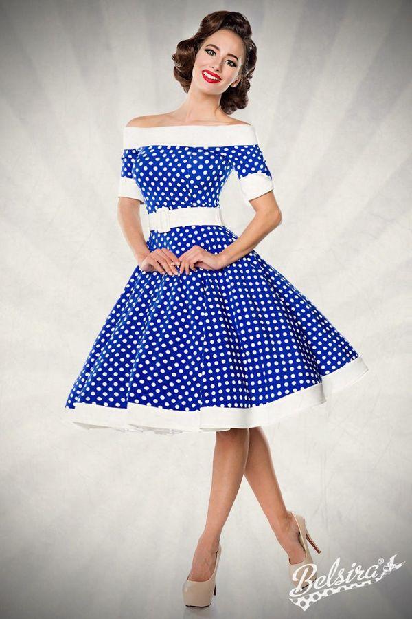 Sonderpreis Schulterfreies Swing-Kleid Retrokleid Tellerrock