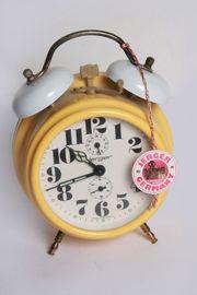 Mechan Aufzieh-Doppel-Glockenwecker Ohrenwecker gelb Nostalgie