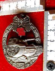 Panzer Panzerkampfabzeichen Silber mit Einsatzzahl