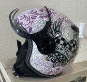 Motorradhelm Helm für Kind weiß