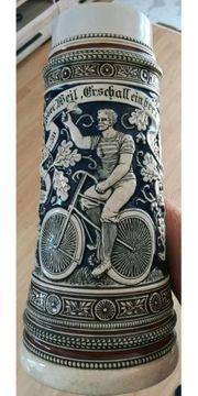 Bierkrug alt ZinnDeckel m RadfahrerMotiv