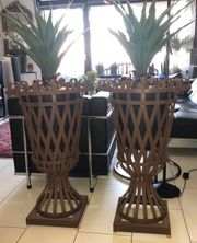 1 Paar Eisenvasen Pflanzenkübel Feuerkorb