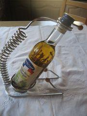 neuwertiger Flaschenhalter aus Metall Silber