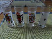 Glas Schnaps Skat Bilder 4Stück