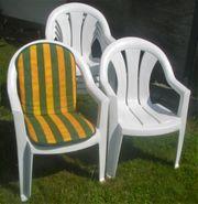 6 Gartenstühle weiß mit Sitzauflagen