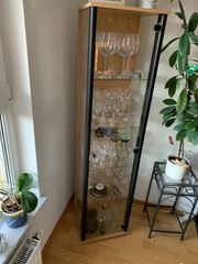 Glasvitrine schmal mit Glasböden schwarz