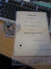 Infanteriesturmabzeichen in Silber mit Besitzzeugnis