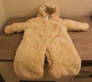Overall für Neugeborene Teddyfleece wollweiß