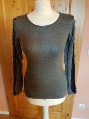 Oberteil Pullover Shirt grau mit