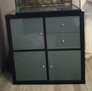 Ikea Kallax schwarzbraun m Türkisfarbenen