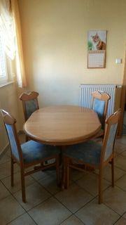 Esszimmergarnitur Tisch und 4 Stühle