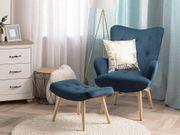 Sessel Samtstoff blau plus Hocker