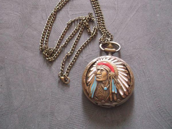 THU-100 Sprungdeckeluhr Indianer Taschenuhr Herrenuhr