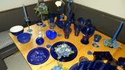 Deko blau - Vasen Schalen Tablett