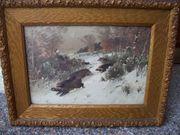 Gemälde Gouache Tiere Wildschwein von