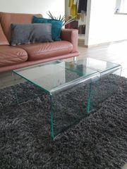 Couchtisch Beistelltisch Glas 2 teilig