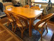 Esszimmertisch aus Bambus mit 6