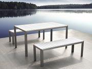 Gartenmöbel Set Kunstholz weiß 2