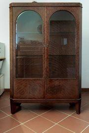 antike Vitrine vintage Kirschbaum Glas
