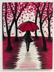 Gemälde Acrylbild Frau mit Schirm