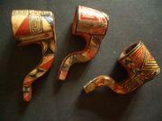3 bemalte Pfeifen aus Peru
