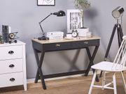 Schreibtisch schwarz heller Holzfarbton 103