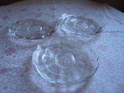 6 kleine Glasteller mit Muster