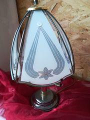 Tischlampe mit gemustertem Glas