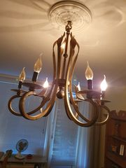 Lampe sehr schwer alt goldfarbend