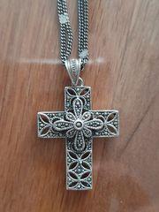 Silbergrau 925 Halskette mit Anhänger