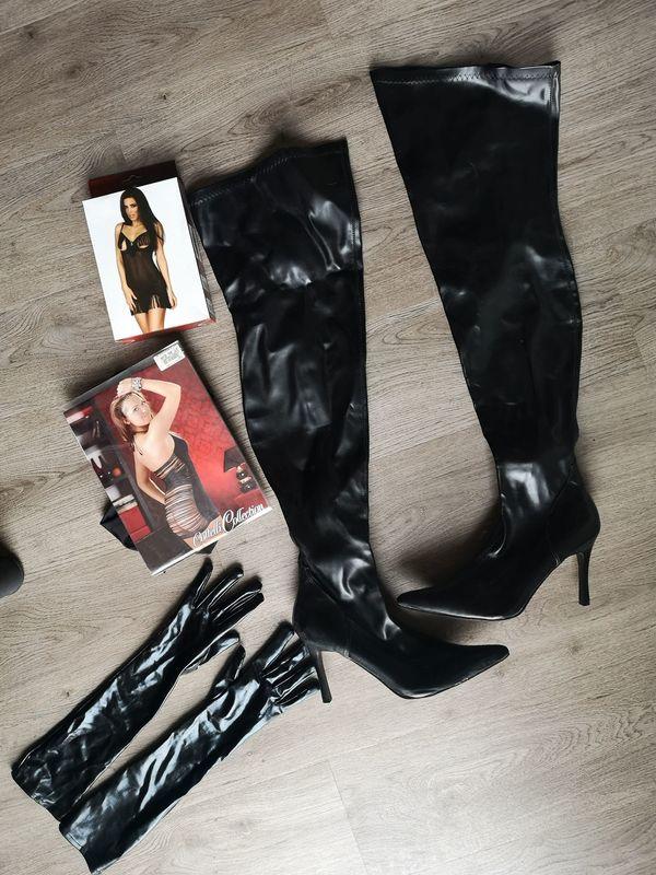 Erotik Outfit Overknees Handschuhe Dessous