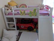 Kinderhochbett mit Rutsche 90x200 cm