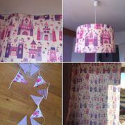 Mädchenzimmer Prinzessin Vorhänge Lampe Wimpelkette