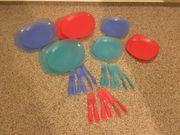 Picknick-Geschirr 3-farbig für 6 Personen