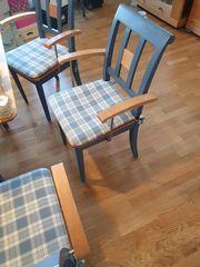 Esszimmergarnitur Holz blau- Tisch Bank