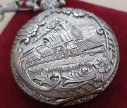 Taschenuhr Silber Filigran Motiv Dampflock
