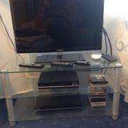 TV-Glastisch - TV-Rack - Lowboard - Klarglas - Alu