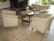 Sofa und 2 Sessel---Lederbezogen--Beige