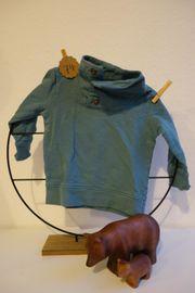 hübscher Pullover 74 Stehkragen türkis-blau