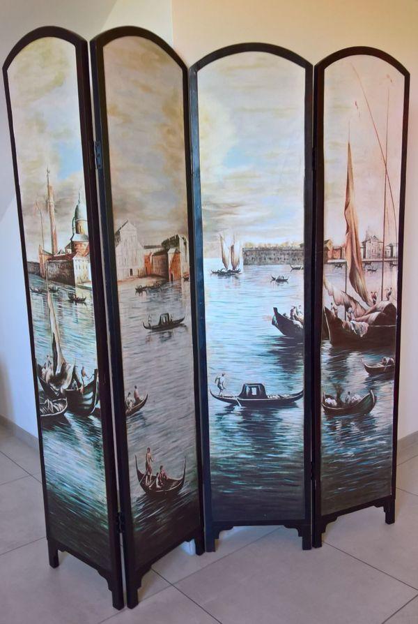 Venezianischer Raumteiler Paravent mit Gondeln
