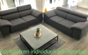 2x Stoff Sofa Stoffbezug Anthrazit