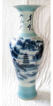 Chinesische Standvase Blau Weiss Höhe