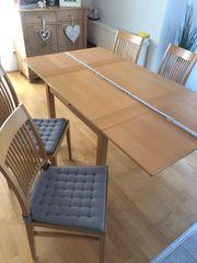 Tisch 90x90 ausziehbar 4 Stühle