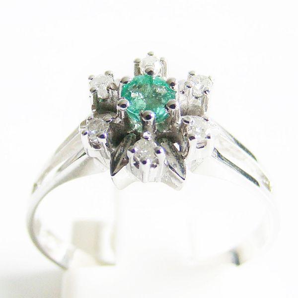 Ring Weißgold 585er Smaragd Diamanten