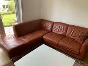 Eck - Leder - Sofa in rot-orange