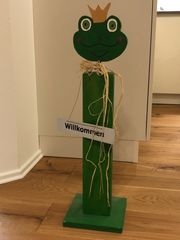 Frosch aus Holz Welcome