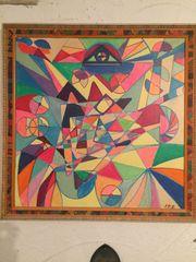 3 bunte orig Gemälde