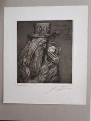 Ernst Fuchs Radierung Jakob mit