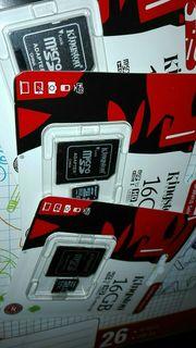 3x 16GB Kingston Micro SD
